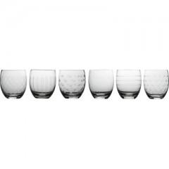GLASSES W. CUTTINGS SET OF 6