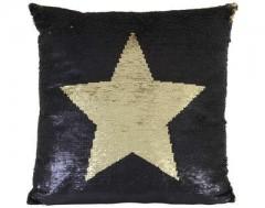 PILLOW STAR BLACK GOLD