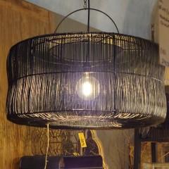 BLACK CYL LAMP RATTAN XL      - HANGING LAMPS