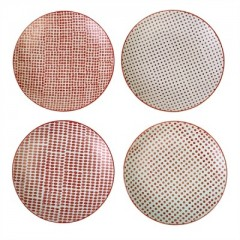 PLATES RED PATTERN SET OF 4